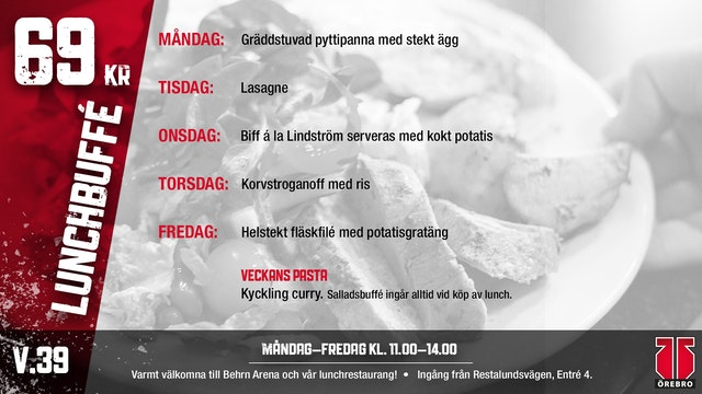 Veckans lunchmeny - V.39