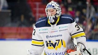 Närbild på HV71-målvakten Jonas Gunnarsson i vitt matchställ med läktaren i bakgrunden