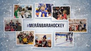 """Collage med åtta mindre bilder tagna vid sjukhusbesök och flickträningar med texten """"#meränbarahockey"""" centrerad"""