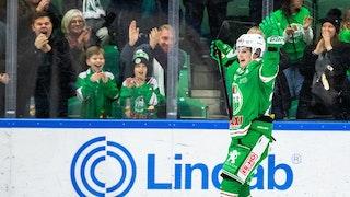 En ensam Nils Höglander i grön matchdress jublar framför glada hemmafans