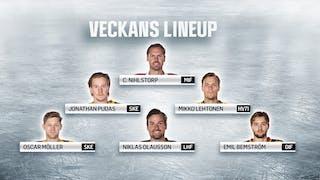 Alla spelarbilder på veckans lineup på en bakgrund av is.