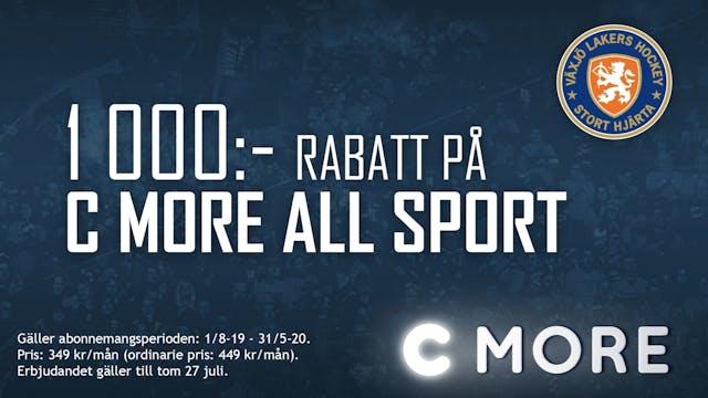 1 000 kr i rabatt på C More All Sport